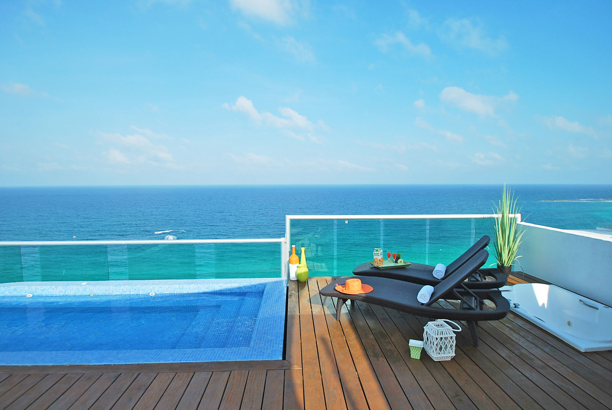 The breathtaking view from the rooftop pool at 2000 of Tim's Ocean Condos in Cancun Mexico