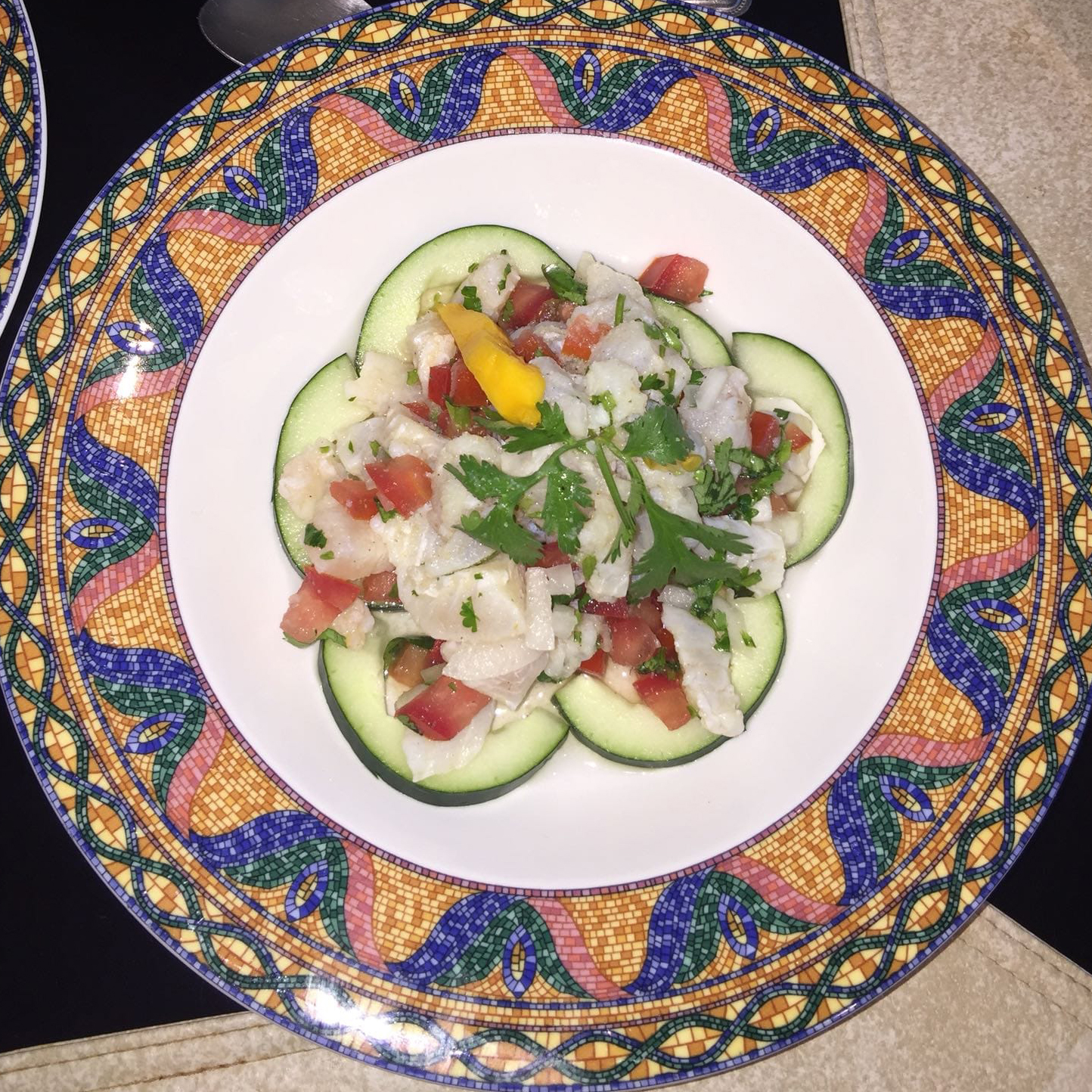 a plate of fish ceviche