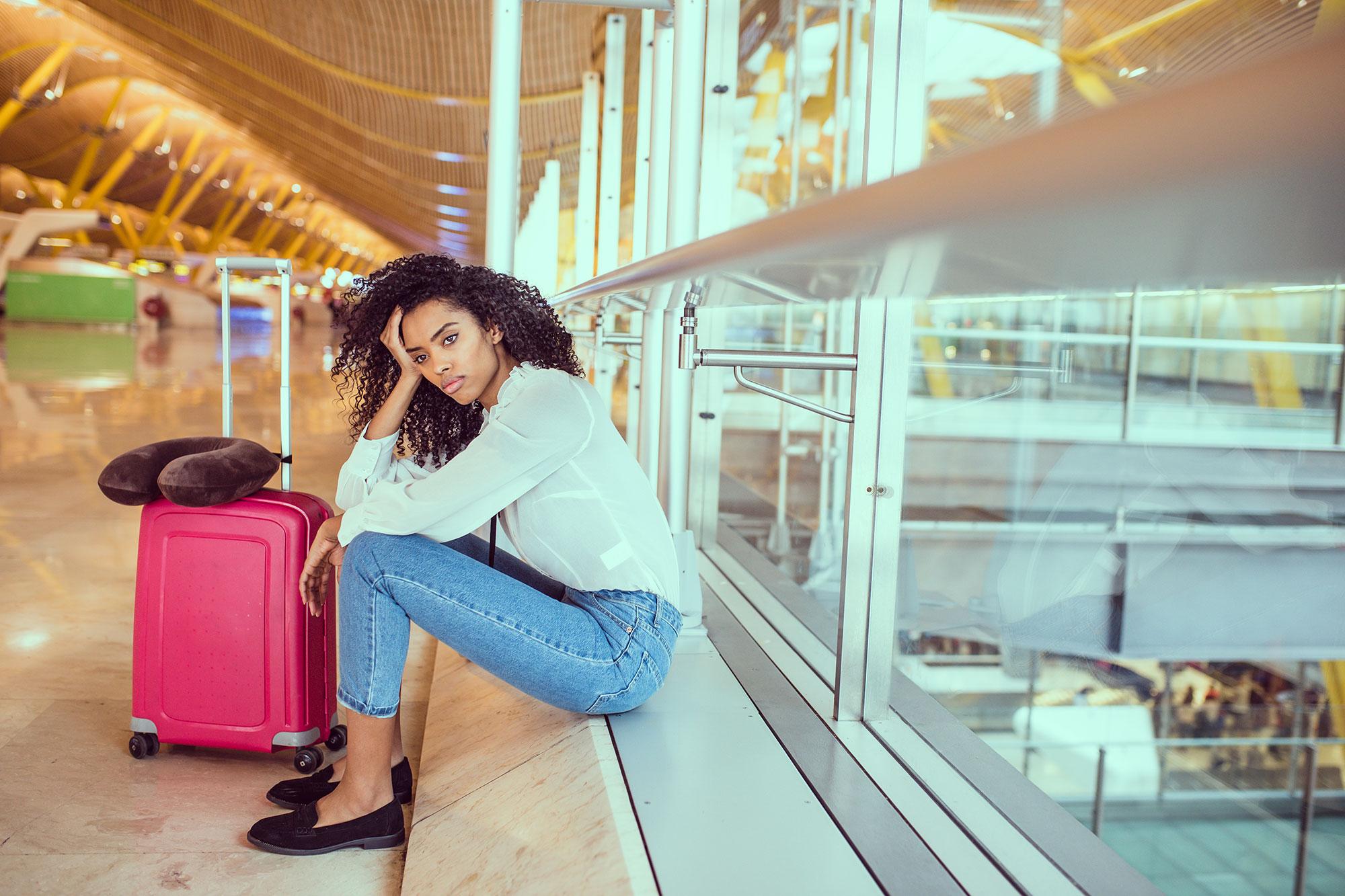 angry woman at airport