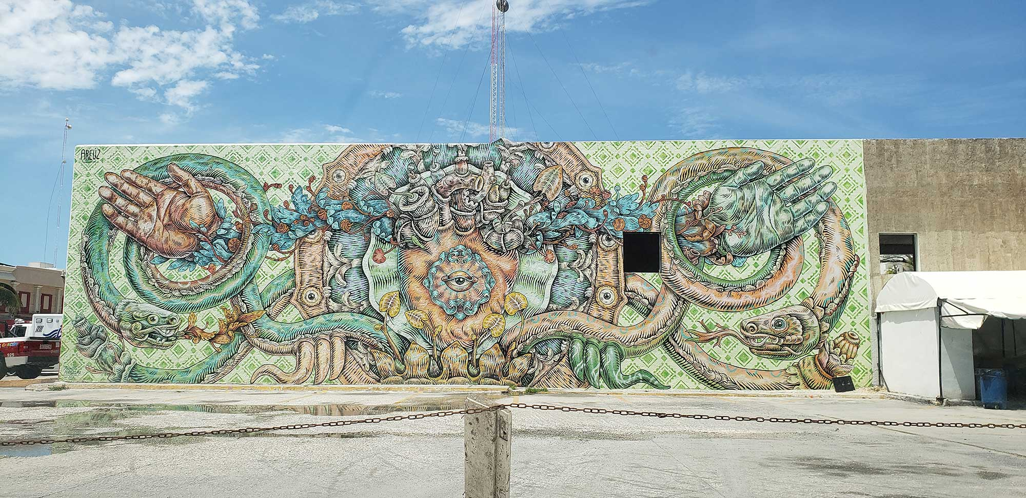 Cancun Art Mural on Hotel Zone Fire Station